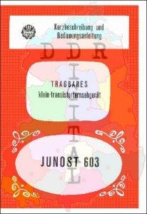 Kurzbeschreibung und Bedienungsanleitung tragbares klein-transistorfernsehgerät JUNOST 603