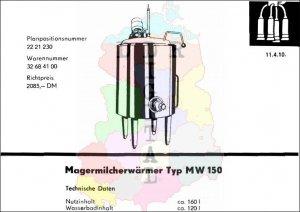 Magermilcherwärmer Typ Mw 150