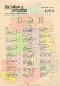 Kraftfahrzeugtechnik Jahresinhaltsverzeichnis 1959